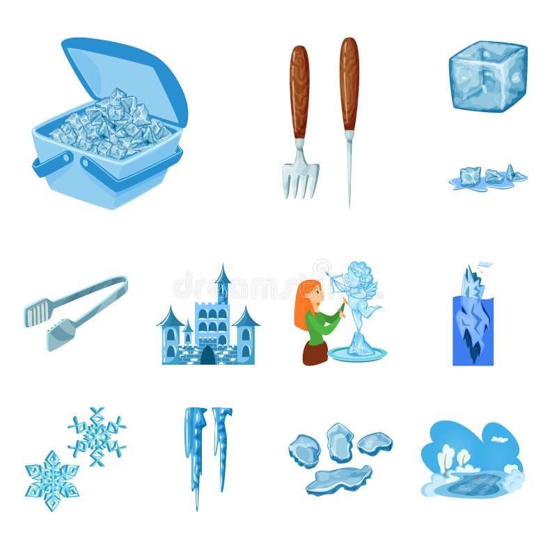 Vektorentwurf des Frosts und des Wasserzeichens Sammlung Frost und nass Vektorikone f?r Vorrat stock abbildung