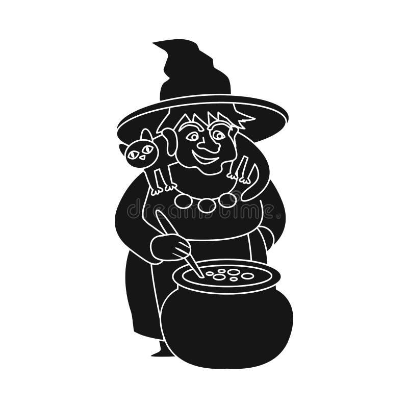 Vektorentwurf des Hexen- und Topfsymbols Sammlung der Hexe und Märchenvektorikone für Vorrat vektor abbildung