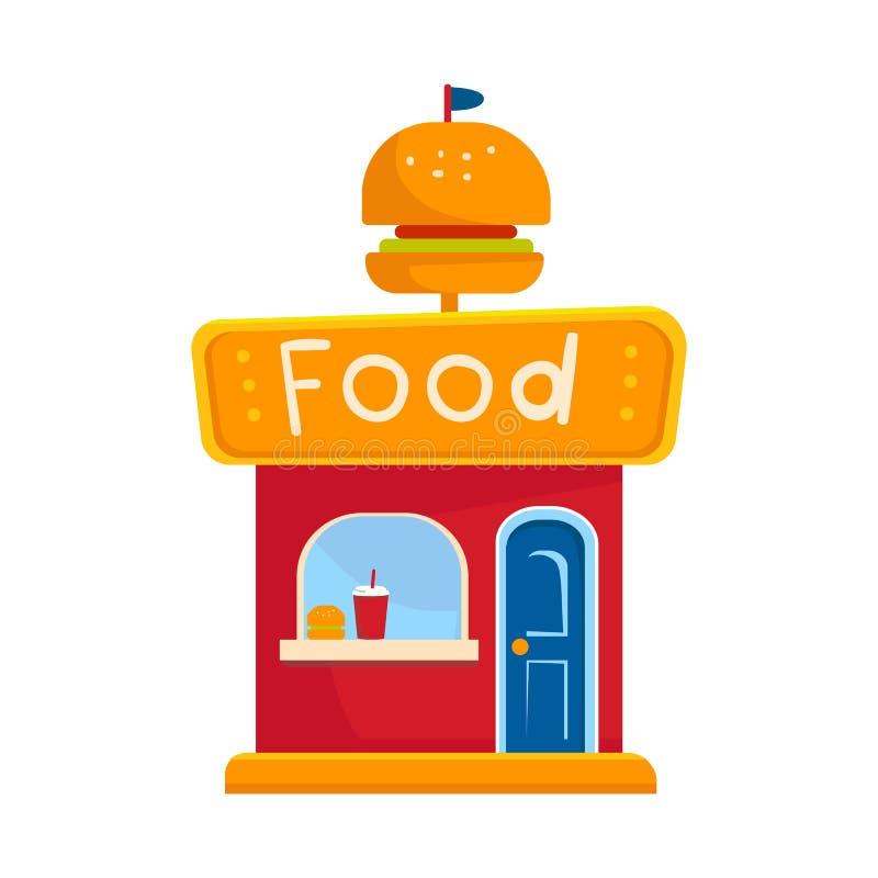 Vektorentwurf des Kiosk- und Burgerlogos Stellen Sie von der Kiosk- und Platzvektorikone für Vorrat ein stock abbildung