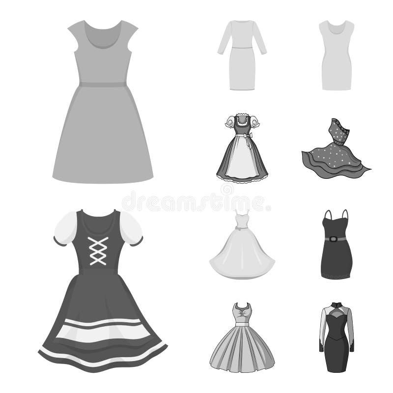 Vektorentwurf des Kleider- und Kleidungslogos Satz Kleid und Glättung Vektorillustration der auf Lager vektor abbildung
