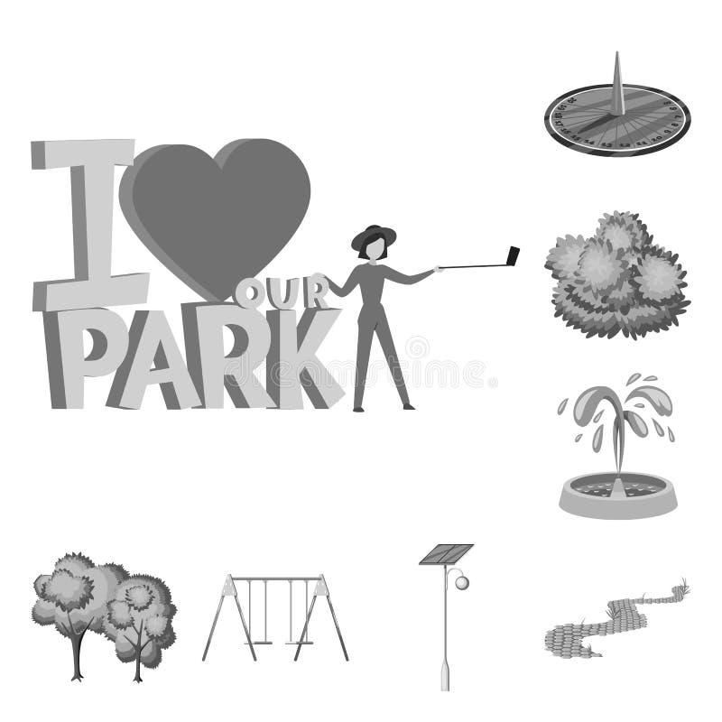 Vektorentwurf des Park- und Stadtsymbols Sammlung der Park- und Stra?envorratvektorillustration vektor abbildung