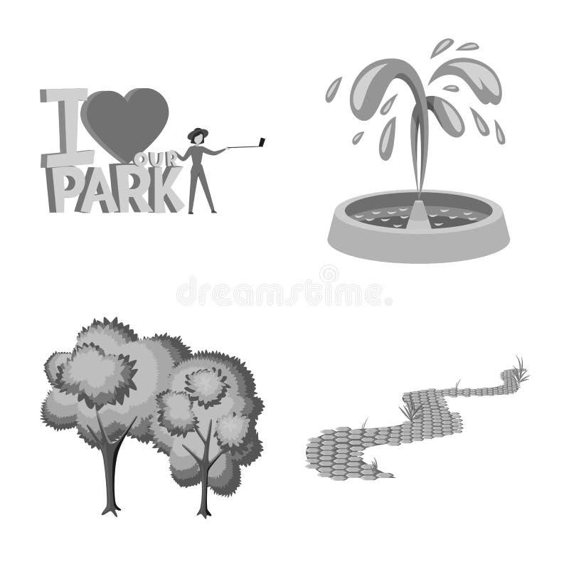 Vektorentwurf des Park- und Stadtsymbols Sammlung des Park- und Stra?enaktiensymbols f?r Netz vektor abbildung