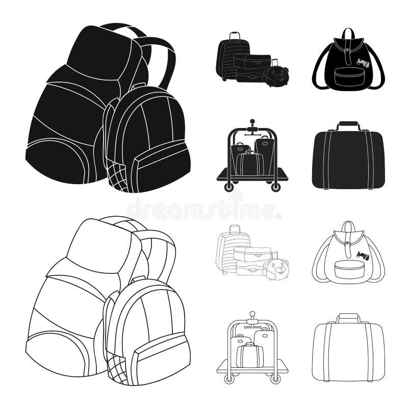Vektorentwurf des Rucksack- und Taschenlogos Stellen Sie von der Rucksack- und Schulvektorikone für Vorrat ein stock abbildung