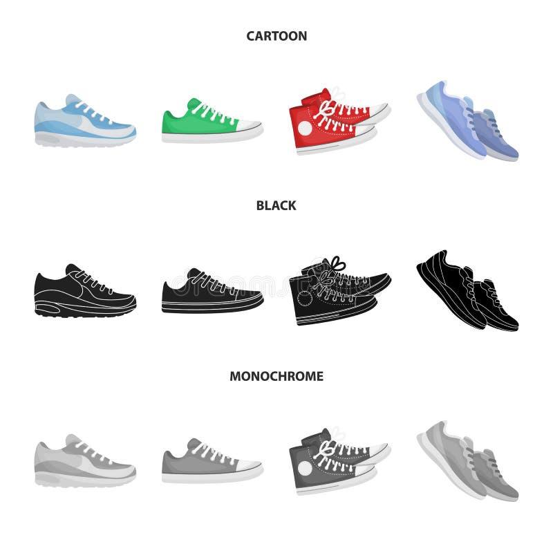 Vektorentwurf des Schuhes und des Sportlogos Stellen Sie vom Schuh und Vektorillustration der Eignung von der auf Lager ein lizenzfreie abbildung