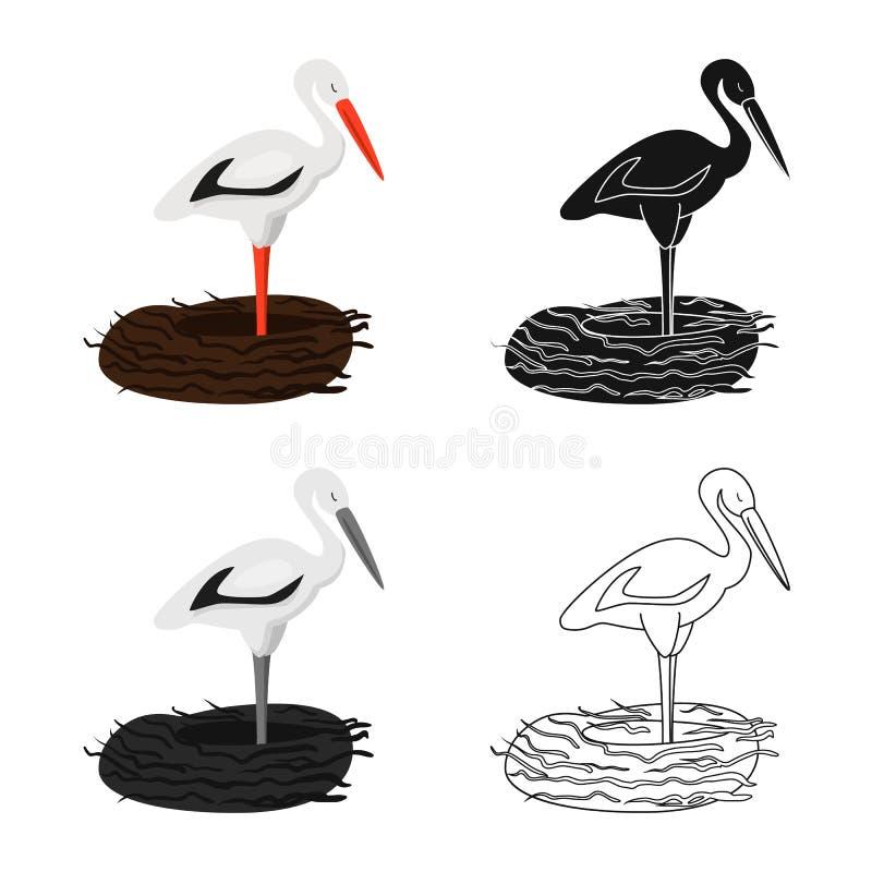 Vektorentwurf des Storch- und Vogelsymbols Stellen Sie vom Storch und von fliegender Vektorikone für Vorrat ein stock abbildung
