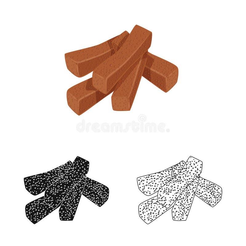 Vektorentwurf von Croutons und von Brotsymbol Stellen Sie vom Crouton- und Crackeraktiensymbol f?r Netz ein stock abbildung