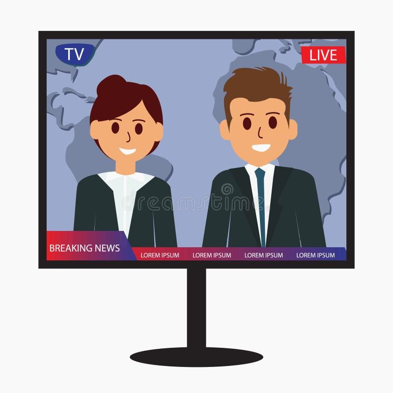 Vektorentwurfs-Ikonenillustration der Fernsehletzten nachrichten stock abbildung