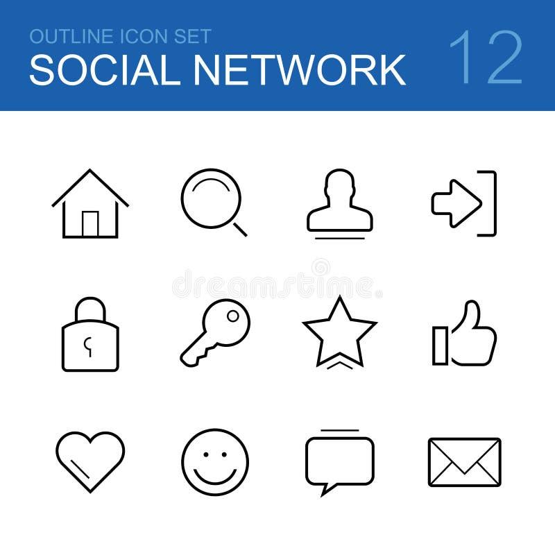 Vektorentwurfs-Ikonensatz des Sozialen Netzes vektor abbildung