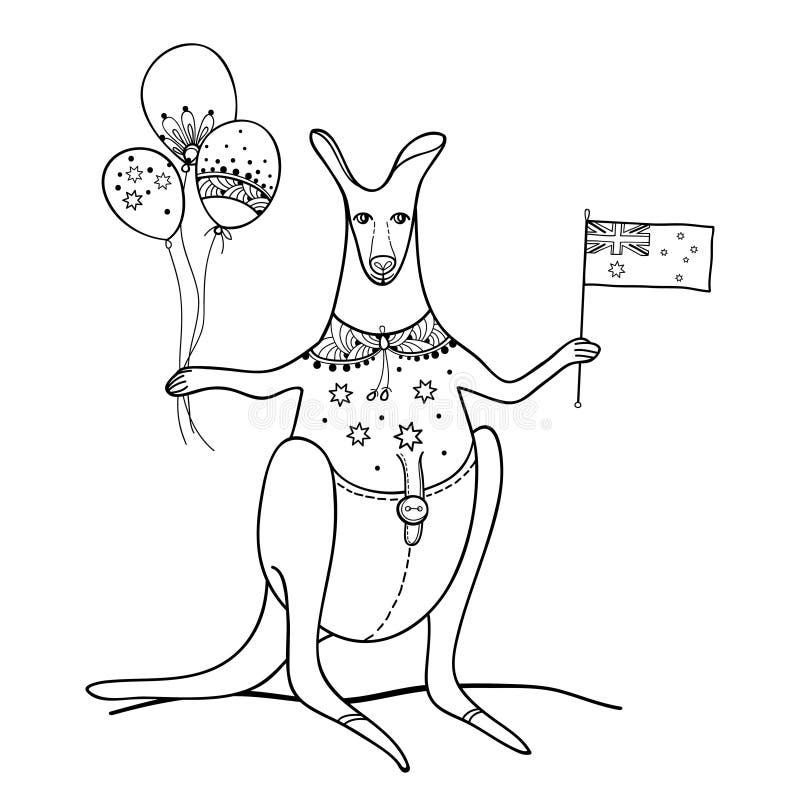 Vektorentwurfs-Kängurutier mit australischer Flagge und Ballon im Schwarzen lokalisiert auf weißem Hintergrund Glücklicher Austra vektor abbildung