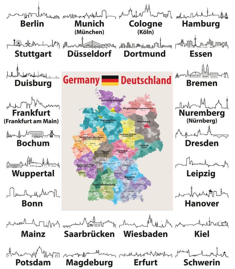 Vektorentwurfsikonen von Deutschland-Stadtskylinen lizenzfreie abbildung