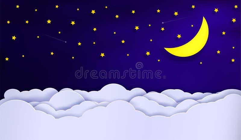 Vektorer av himlen under natten stock illustrationer
