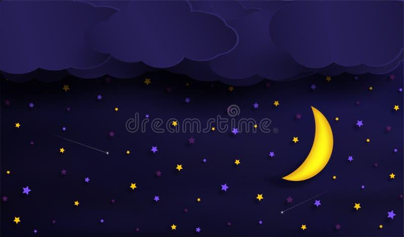 Vektorer av himlen under natten royaltyfri illustrationer