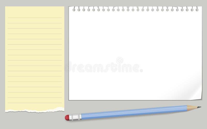 Vektorer för anmärkningspapper och blåttblyertspenna vektor illustrationer