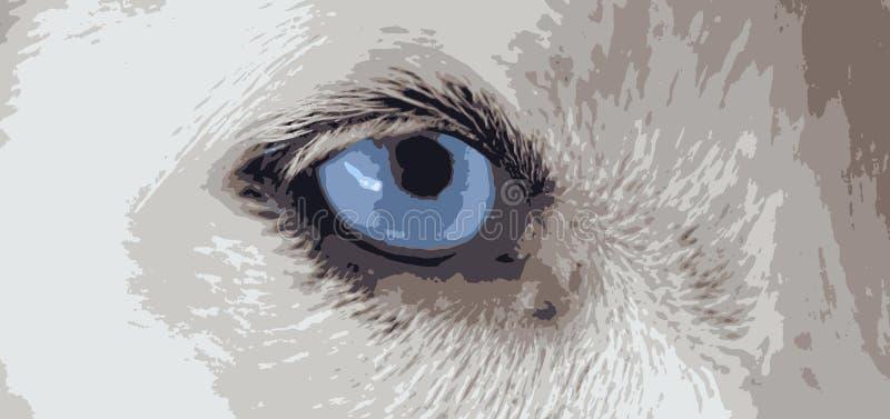 Vektorer för blått öga för hund royaltyfri illustrationer