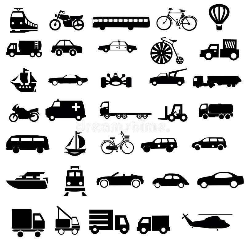 Vektorer för medeltransportsvart vektor illustrationer