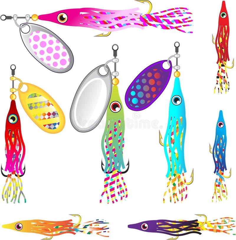 Vektorer för spinnare för drag för Hoochie tioarmad bläckfiskfiske som fiska med drag i drag royaltyfri illustrationer