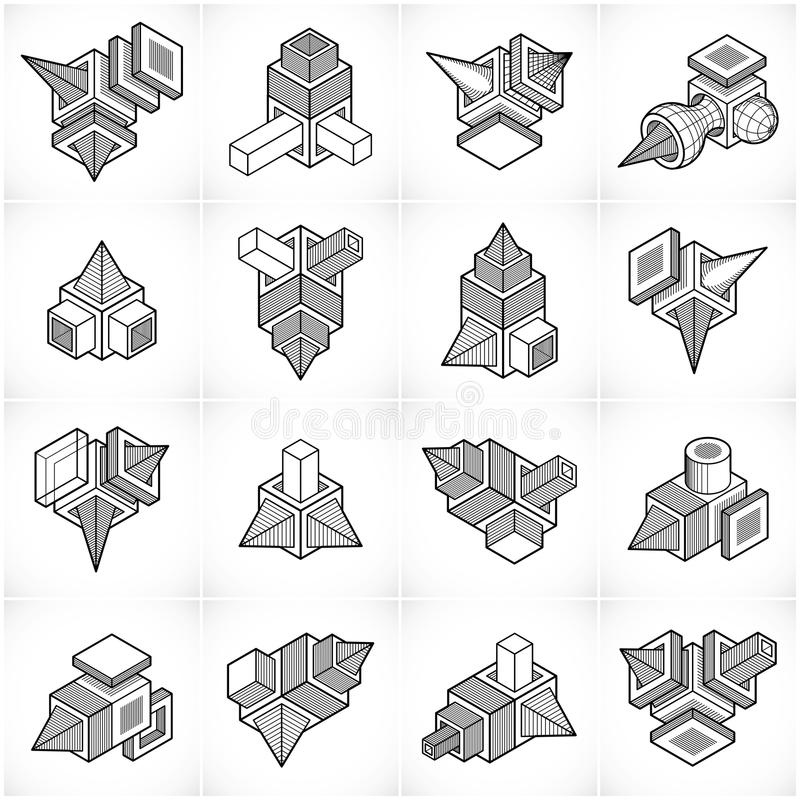 vektorer för teknik 3D, abstrakt begrepp formar samlingen vektor illustrationer