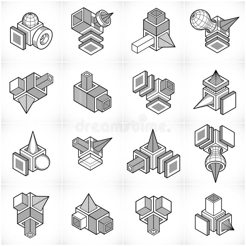 vektorer för teknik 3D, abstrakt begrepp formar samlingen stock illustrationer