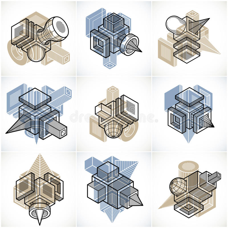 vektorer för teknik 3D, samling av abstrakta former royaltyfri illustrationer