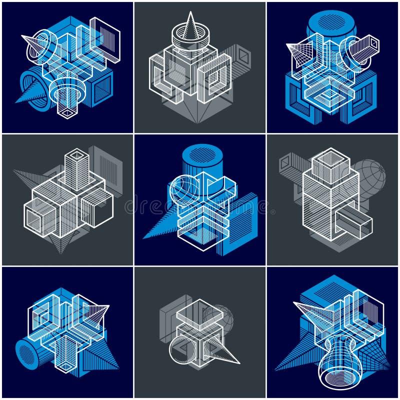 vektorer för teknik 3D, samling av abstrakta former vektor illustrationer