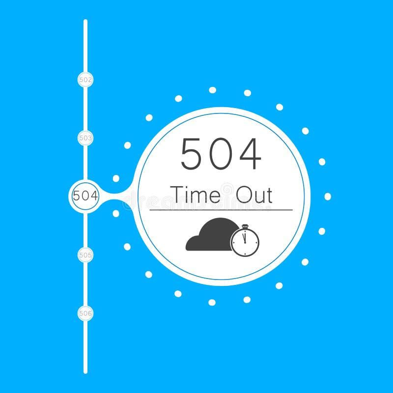 Vektorer gör sammandrag för anslutningsfel för bakgrund 504 tid för nyckel ut royaltyfri illustrationer