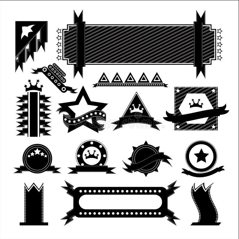 Vektorer ställde in bandsvart vektor illustrationer