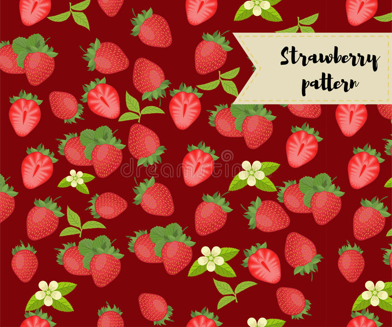 Vektorerdbeernahtloses Muster Hintergrund, Muster, Gewebedesign, Packpapier, Abdeckung stock abbildung
