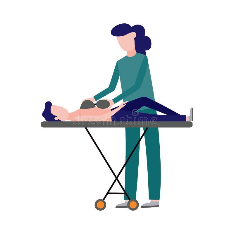 Vektorerste hilfe, Notkrankenschwester und Patient vektor abbildung