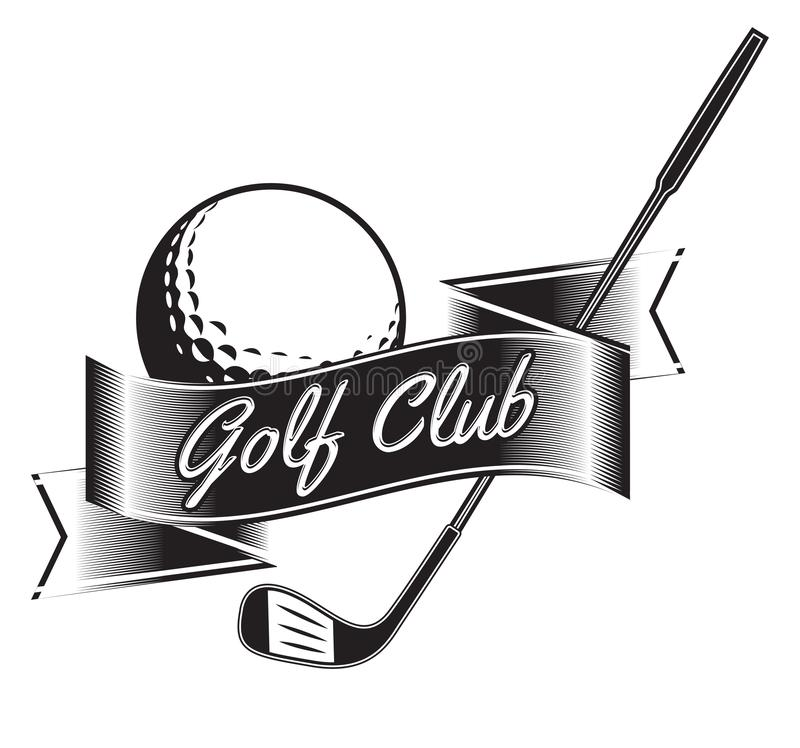 Vektoretikett av golf Logo av golfmästerskapet också vektor för coreldrawillustration royaltyfri illustrationer