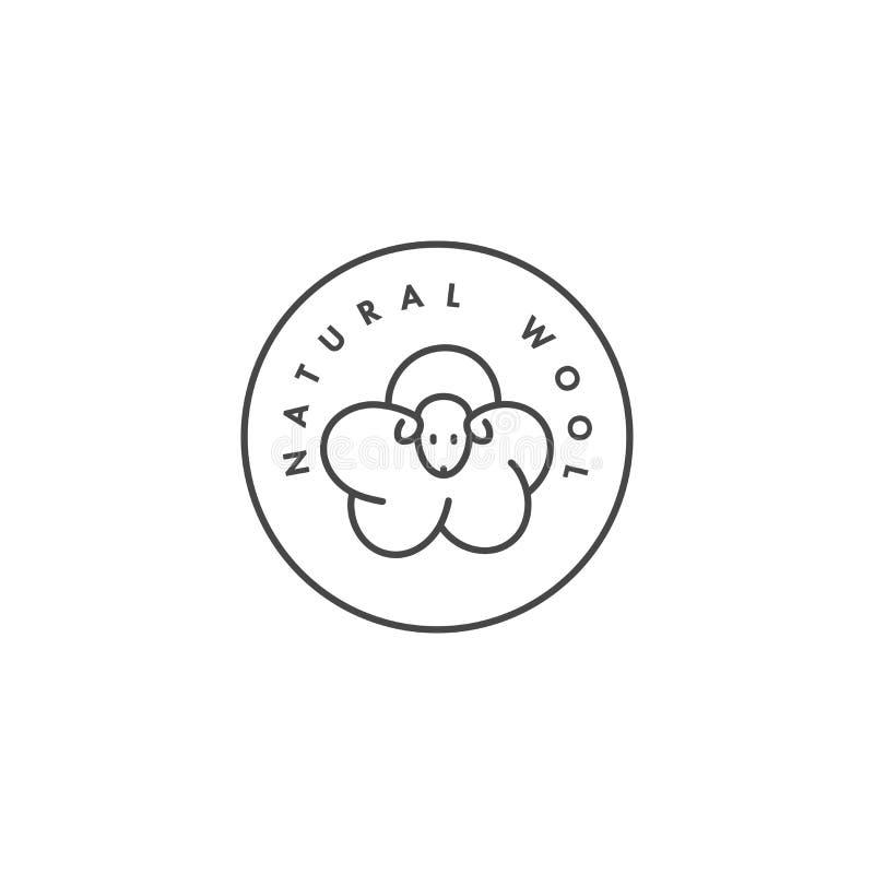 Vektoretikett eller emblem för organiskt och naturligt tyg Symbolulletikett för kläder stock illustrationer