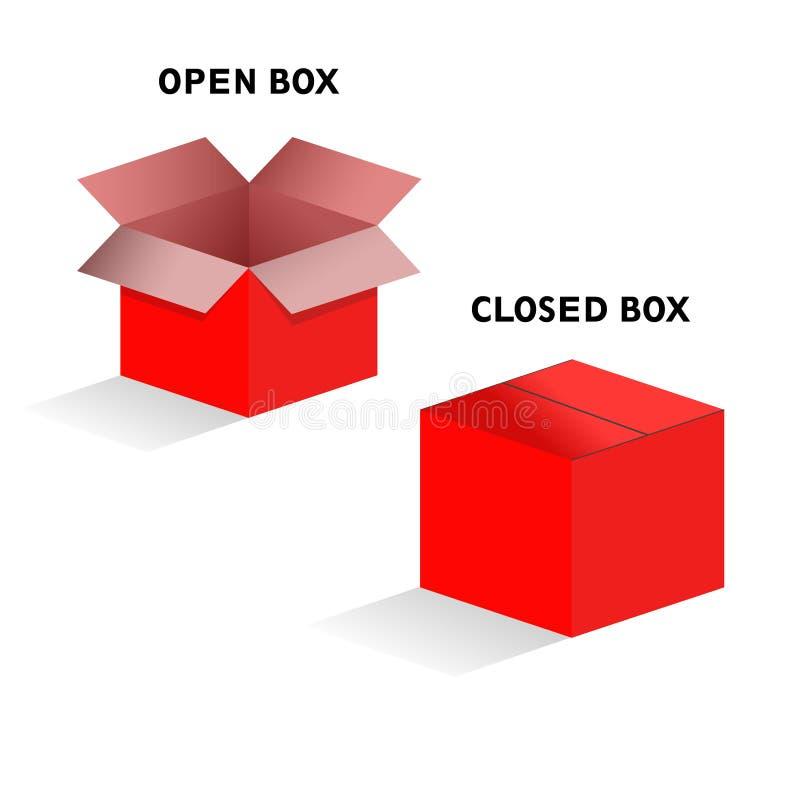 Vektorexempel av en öppen och stängd ask vektor illustrationer