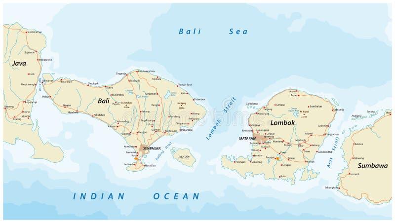 Vektorfärdplan av indones Lesser Sunda Islands Bali och Lombok stock illustrationer