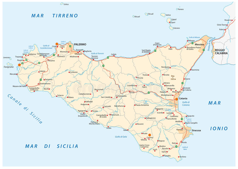 Vektorfärdplan av Island Sicilien, Italien stock illustrationer