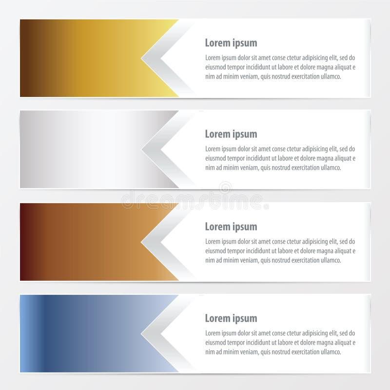 Vektorfärgar horisontalbanerguld, brons, silver, blått stock illustrationer