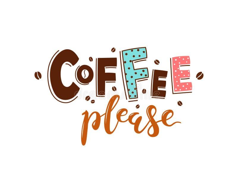 Vektorfärgbokstäver för kafét, baner, affischer Kaffe behar stock illustrationer