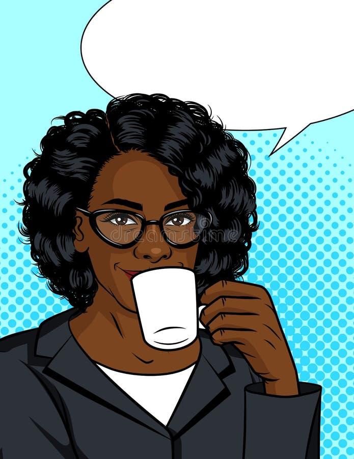 Vektorfärgillustration av en flicka som dricker kaffe vektor illustrationer