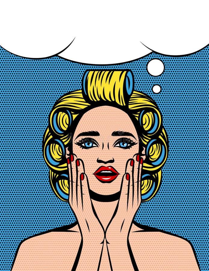 Vektorfärgillustrationen av en ung kvinna med hårrullar på hennes huvud är chockad stock illustrationer