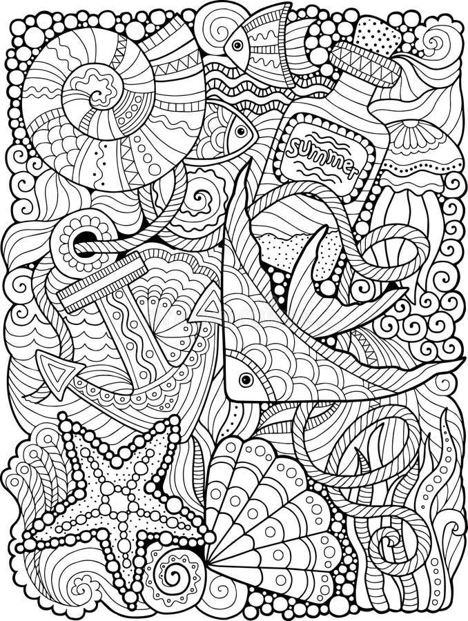 Vektorfärgläggningbok Färgläggningbok för vuxen människa Sommarhav stock illustrationer
