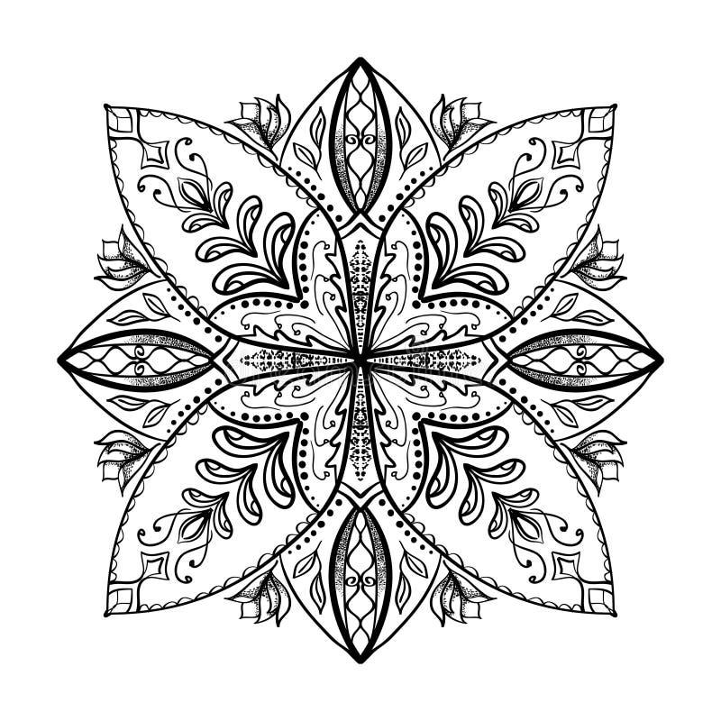Vektorfärgläggningbok för vuxen människa Den fyrkantiga sidan för kopplar av och meditationen vektor illustrationer