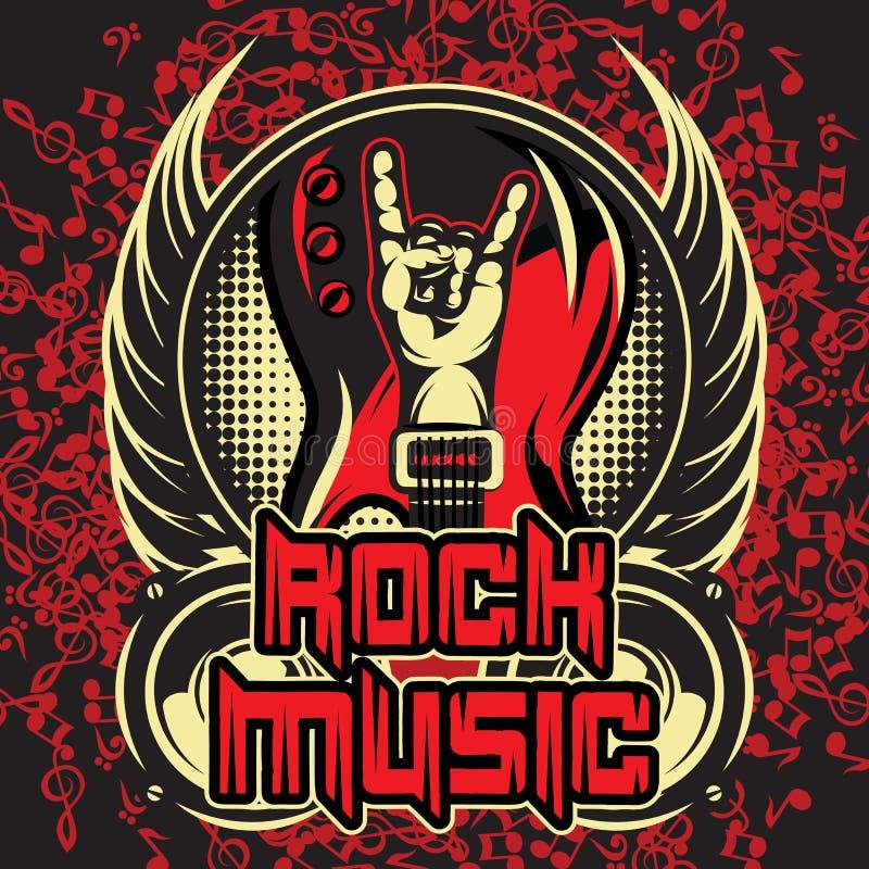 Vektorfärgmall för inbjudningsaffisch på rockmusiktema med hand, gitarr och vingar stock illustrationer