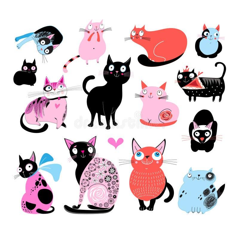 Vektorfärguppsättning av olika roliga katter vektor illustrationer