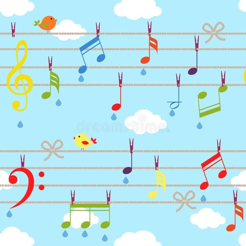 Vektorfåglar och musik stock illustrationer