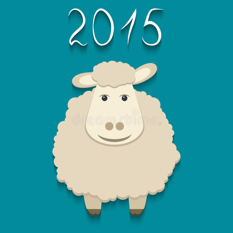 Vektorfår - symbol av 2015 royaltyfri illustrationer