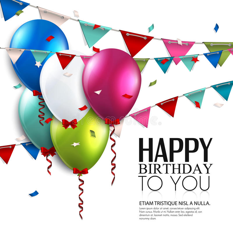Vektorfödelsedagkort med ballonger och bunting royaltyfri illustrationer