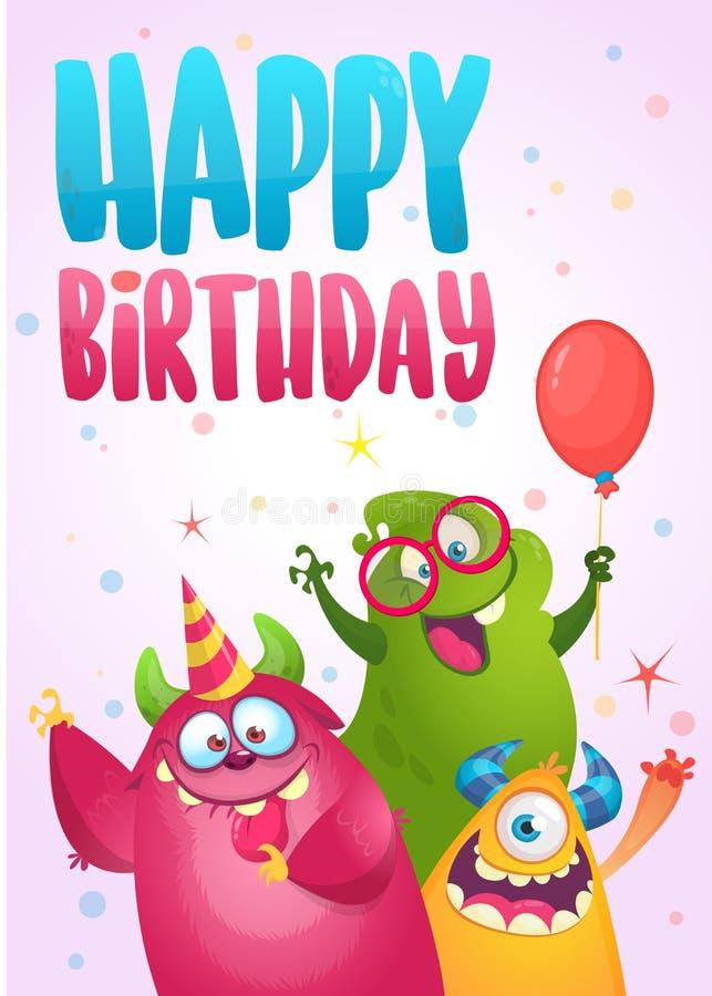 Vektorfödelsedagkort med gulliga roliga monster i tecknad filmstil royaltyfri illustrationer