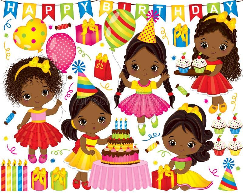 Vektorfödelsedaguppsättning med små afrikansk amerikanflickor och partibeståndsdelar royaltyfri illustrationer