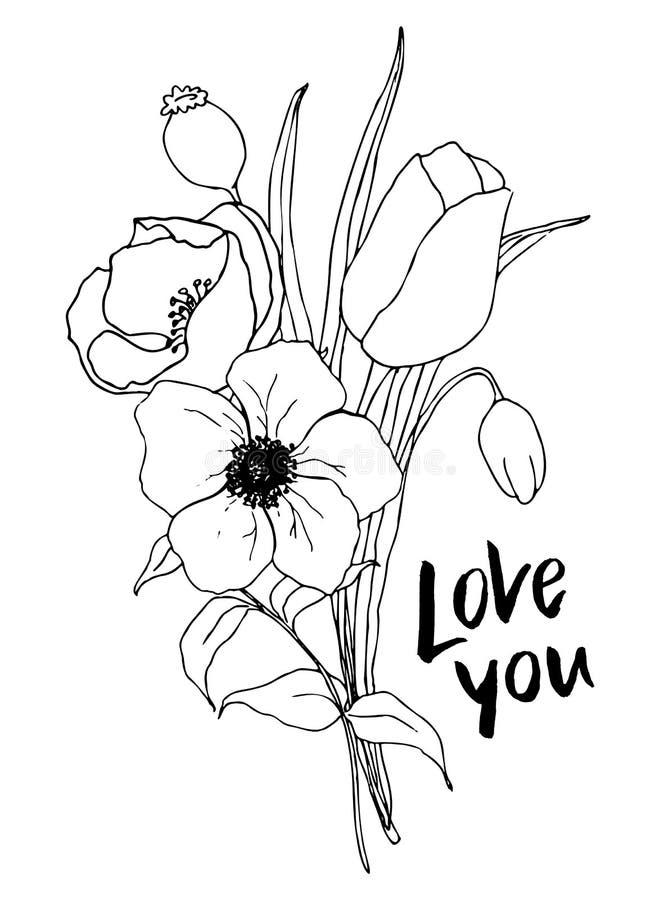 Vektorförälskelse dig kort med grönska- och anemonbuketten Handen målade blommor och bär med eukalyptussidor och stock illustrationer