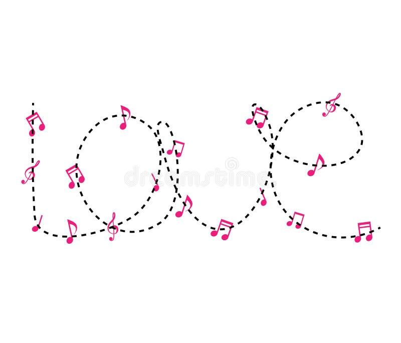 'Vektorförälskelsedesign i plan stil Planlägg en hjärtaform i begreppet av musikanmärkningar white f?r song f?r lycklig f?r?lskel royaltyfri illustrationer