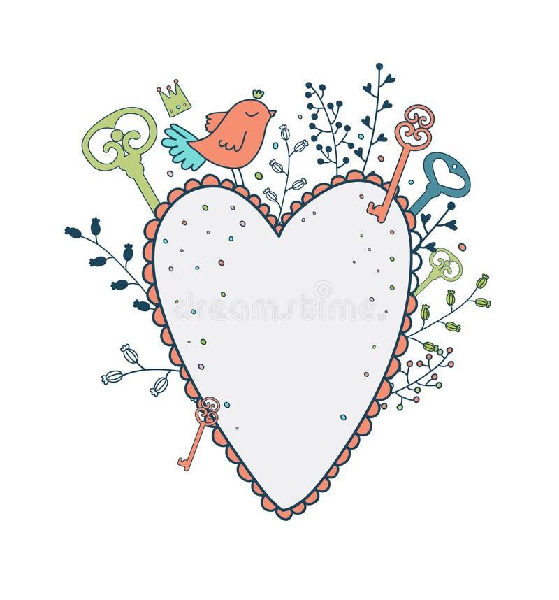 Vektorförälskelseram Fjädra illustrationen av den gulliga fågeln, hjärta och f vektor illustrationer