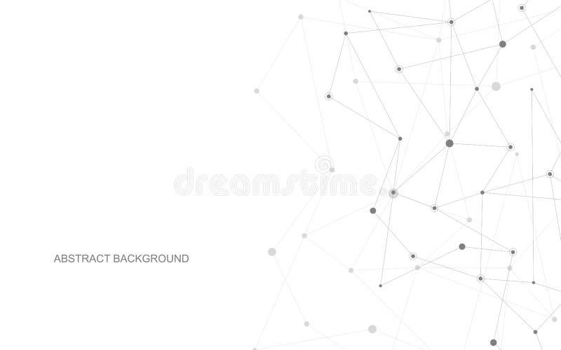 Vektorförbindande prickar och linjer Anslutning för globalt nätverk Geometrisk förbindelseabstrakt bakgrund vektor illustrationer